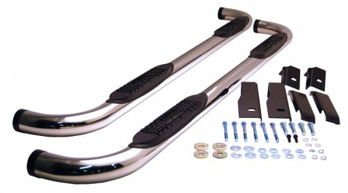 "Raptor Side Steps and Nerf Bars - Raptor 3"" Stainless Round Cab Length Nerf Bars"