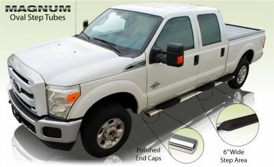 """Raptor - Raptor Magnum 6"""" Wheel To Wheel Polished Stainless Oval Tubes Dodge Ram 09-15 1500 Quad Cab 6'4"""" Bed (Rocker Panel Mount)"""