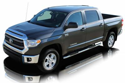 """Raptor 4"""" OE Style Cab Length Curved Stainless Oval Step Tubes Toyota Tundra 07-15 Double Cab"""