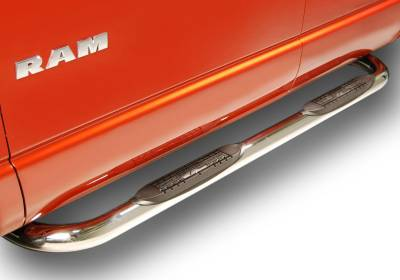 """Raptor 3"""" Stainless Round Cab Length Nerf Bars - GMC Applications (Raptor 3"""" Stainless Cab Length) - Raptor - Raptor 3"""" Polished Stainless Cab Length Nerf Bars GMC Canyon 04-12 Crew Cab"""