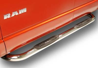 "Raptor 3"" Stainless Round Cab Length Nerf Bars - Dodge Applications (Raptor 3"" Stainless Cab Length) - Raptor - Raptor 3"" Polished Stainless Cab Length Nerf Bars DODGE Ram 09-15 1500 Crew Cab (Rocker Mount)"