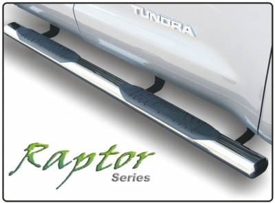 "Raptor 4"" Stainless Cab Length Oval Tube Steps - GMC Applications (Raptor 4"" Stainless Cab Length) - Raptor - Raptor 4"" Cab Length Stainless Oval Step Tubes GMC Sierra 07-13 Extended Cab (Rocker Panel Mount)"