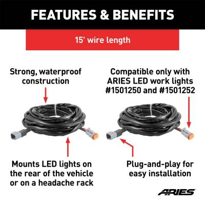 ARIES - ARIES 1501243 LED Worklight Extension Harness - Image 2