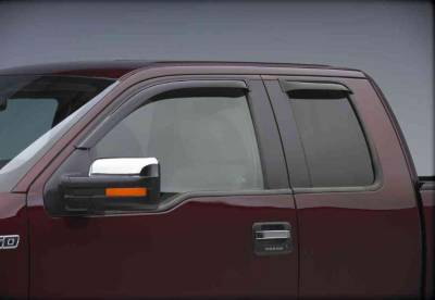 EGR Tape On Window Vent Visors - Ford Applications (EGR Tape On) - EGR - EgR Smoke Tape On Window Vent Visors Ford Super Duty 99-10 Extended Cab  (w/ tow mirror) (2-pc Set)